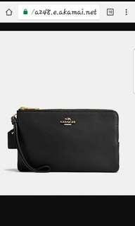 🚚 Brand New Black Leather Coach Double Zipper Wallet