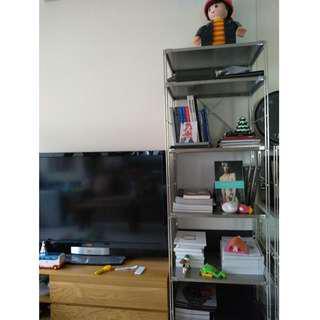 (二手 歡迎議價) 日本 MUJI 無印良品 SUS 不銹鋼 深灰黑 層架組 寬56×深41×高175cm 書架 書櫃