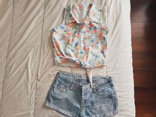 Floral b.down cropped top