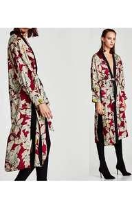 Zara Floral Print Satin Kimono/Dress - Size M /L - BNWT