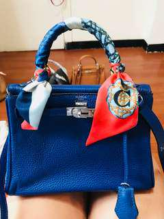 Hermes Kelly 25 electric blue togo phw with dustbag