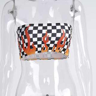 Checkered flames boob tube