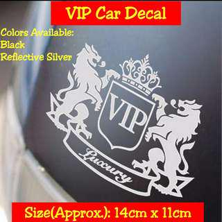 Car Decal VIP Luxury (Reflective Silver/Black)