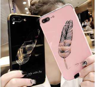 Feather black and pink Iphone case