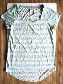 GIVEFREE RM20 | PRELOVED women's round neck fitting cotton light mint green and white stripes top with long back - in fair condition