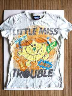 PRELOVED Little Miss Trouble Grunge Print Women's Light Blue T-shirt Retro Cartoon Top - in good condition