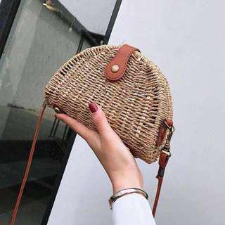 Oblong Rattan bag