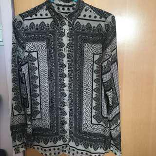 Zara grey pattern shirt 襯衫 恤衫