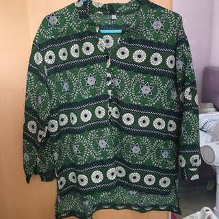 Korea green pattern shirt top綠色 圖案 上衣 襯衫