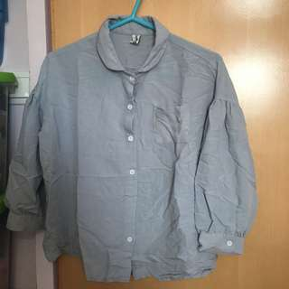 Korea loose cut pastel blue shirt 寬鬆 藍色 恤衫 襯衫