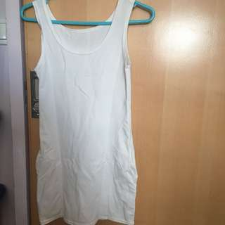 White bodycon sleeveless dress with pockets 白色 貼身 修身 連身裙
