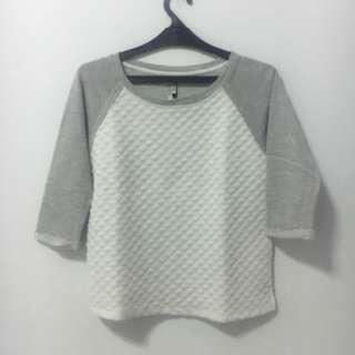 Stradivarius White Quilted Sweatshirt