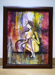acrylic abstract paint with frame