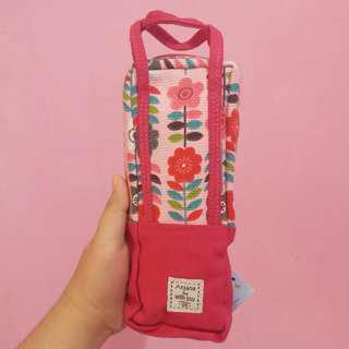 Tempat pensil /Pencil Case Pink Bunga New
