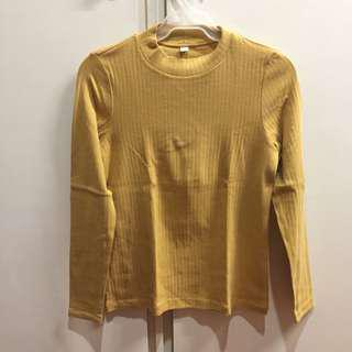Uniqlo Mustard Ribbed Long Sleeves Top
