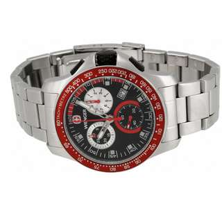 Wenger Battalion Chrono Sport Steel Mens Watch Calendar Red Bezel 70784
