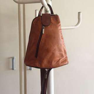 Vintage Leather Brown Backpack/Sling