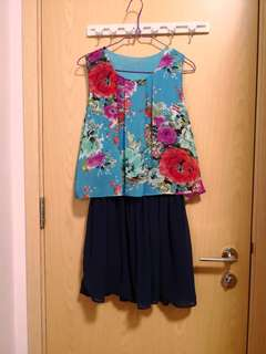 全新藍色花花雪紡連身裙