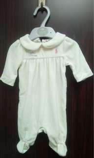 全新Ralph Lauren Polo 米白色束粉紅馬珊瑚絨包腳夾衣(NB 初生) 送平郵