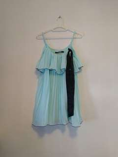 OutNet - 全新 日牌 Lip Service 女裝 粉藍色 百摺 上衣 B11