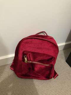 Burgundy velvet small backpack
