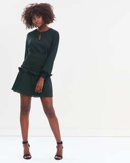 Atmos and Here jungle green shirred dress