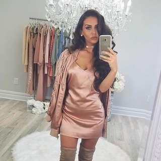 Carli Bybel x Missguided rose gold Satin lace up bomber jacket