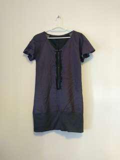 OutNet - 全新 日牌 女裝 紫黑間條 女裝 鬆身 連身裙 B11