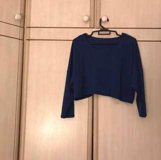 blue long sleeve crop sweater