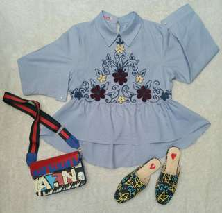 Blue embroidery peplum blouse
