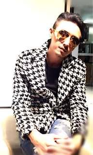 🚚 Made in Korea 原價約5千 獨立設計師品牌 黑白千鳥格軟呢西裝外套 大衣