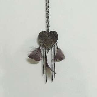Heart Necklace with Feathers