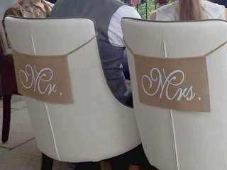 Mr Mrs rustic wedding chair signs burlap