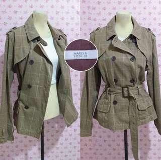 Marks & spencer checkered plaid trench coat jacket blazer