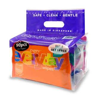 23% off Zappy Alcohol Free Everyday Wipes (6 packs x 15 sheets) Fresh Stock: Made on 1 June 2018