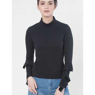 Schmiley Mo Carla Turtle Neck Top With Ruffle Sleeves (75% Off)