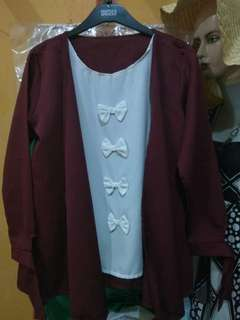 Maroon ribbon top
