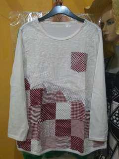 Shirt kaos import maroon kombi