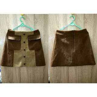 Brown A - Line skirt
