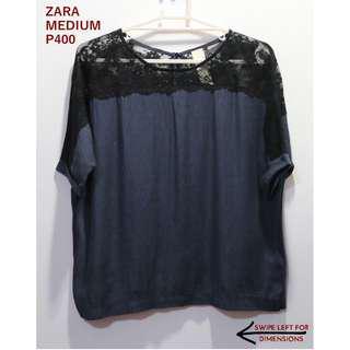 Zara Dark Blue Longsleeves Top With Lace Shoulder Details