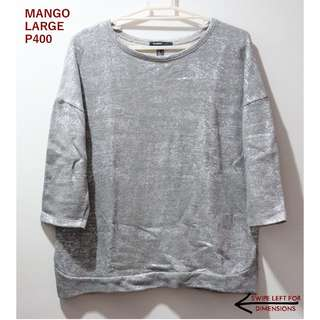 Mango Distressed Silver Sweater