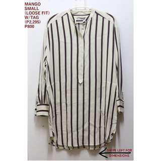 Mango Cream and Maroon Striped Long Top
