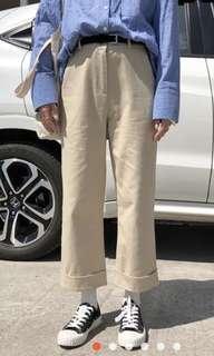 🚚 杏色高腰寬褲