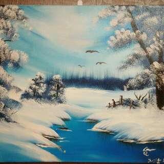 [娃娃手繪]雪中湖(無框)
