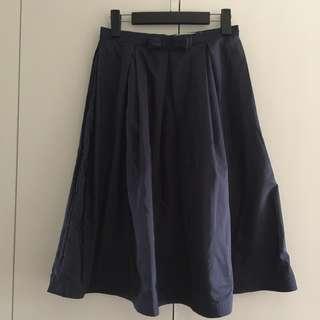 Bow Front Midi Skirt - Navy