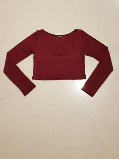 BN - Maroon Red Crop Top Long Sleeve #OCT10
