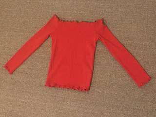 Red long sleeve off shoulder top