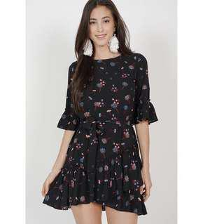 MDS collection Camellia ruffle dress in black blue floral Size XS BNWT