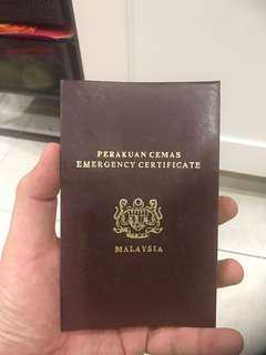 Malaysia Vintage Emergency Certificate Passport
