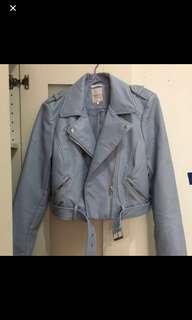 Zara light blue Leather Jacket 粉藍 皮褸 外套 biker jacket